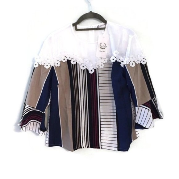 Miss Finch Tops Striped Lace Quarter Bell Sleeve Blouse Poshmark